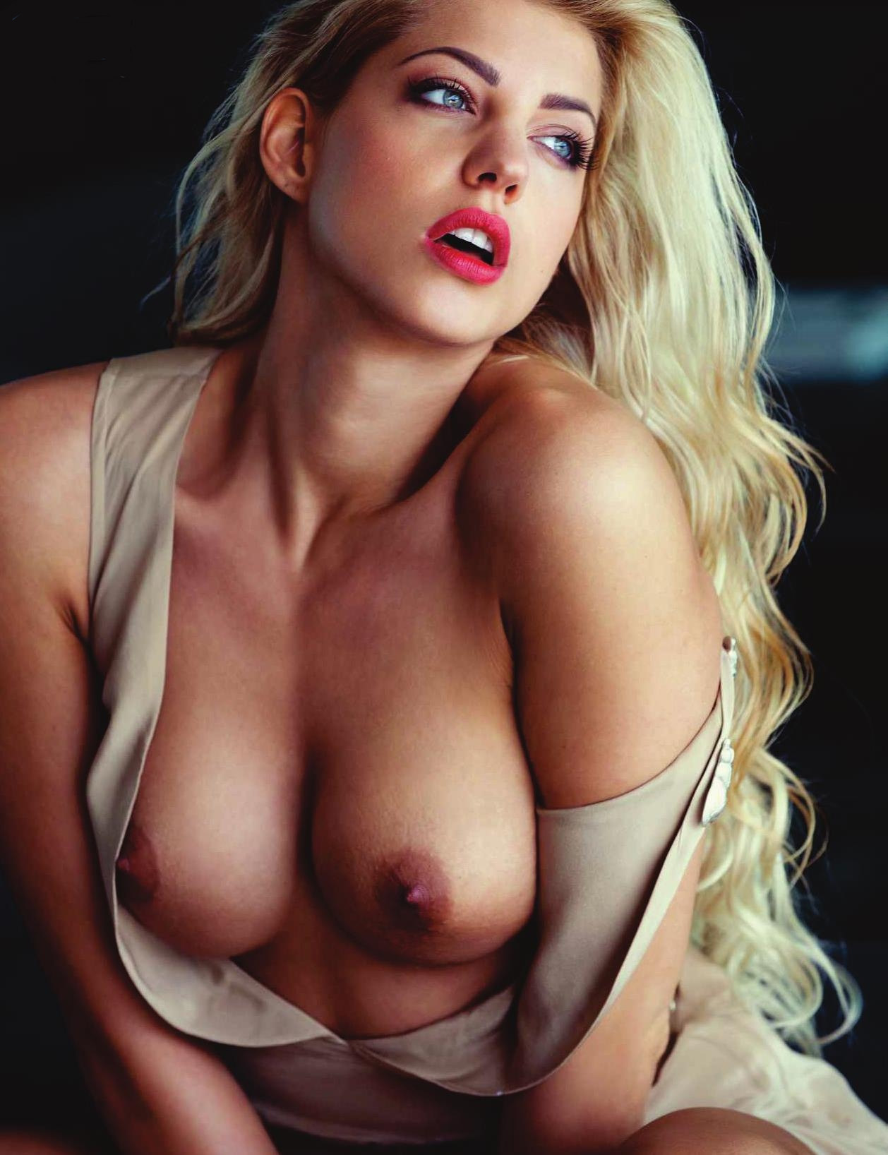 Stunning Blonde Bulgarian Playmate Goddess Strips Naked